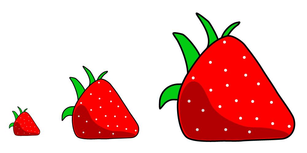 dessiner une fraise en vectoriel pour un SVG de moins de 10K